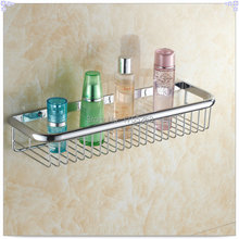 45cm Wall Mounted Chrome finish Strong Brass made square single tier bathroom shelf basket HJ-106L cold basin fa - Crystal'Store store