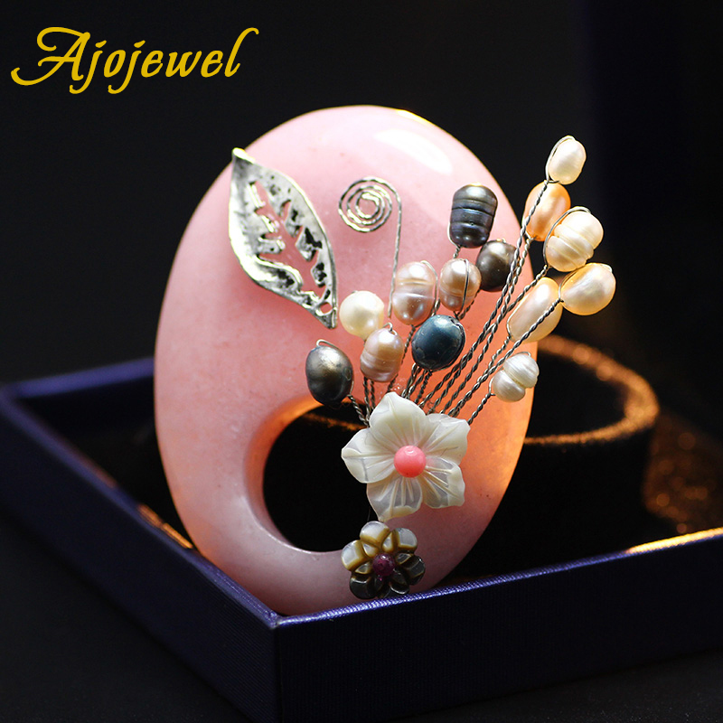 Ajojewel High Quality Natural Jade Brooch Bouquet Antique Silver Plated Top Freshwater Pearl Jewelry Hot Pink Brooches For Women(China (Mainland))