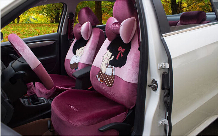 New 18pcs 1 set car chair cover High-grade embroidery bowknot cartoon lovers car seat cover car-covers Brown and mei red(China (Mainland))