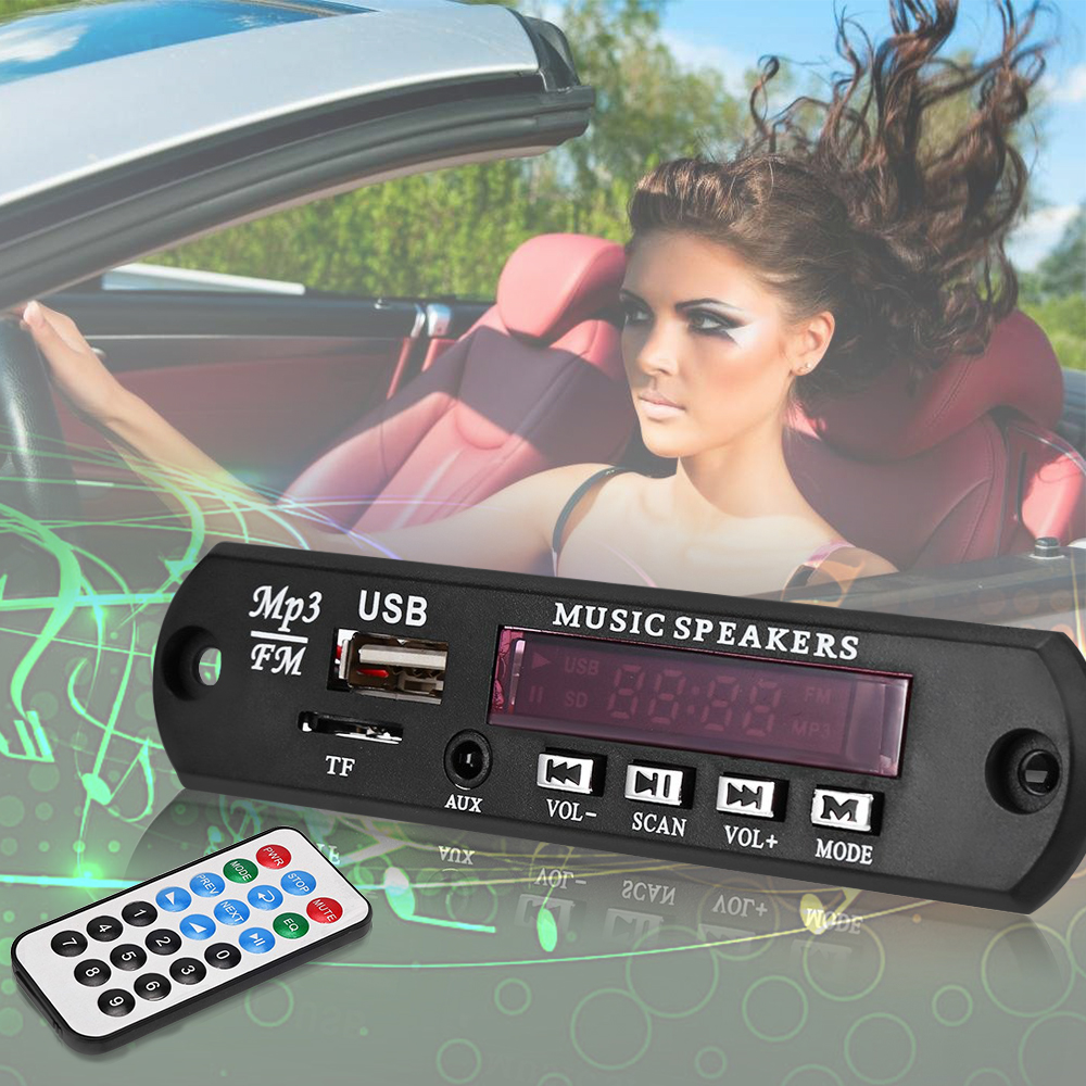 Car Digital LED 12V Auto MP3 Player Decoder Board Panel Support FM Radio USB TF AUX Remote Display Memory Function(China (Mainland))