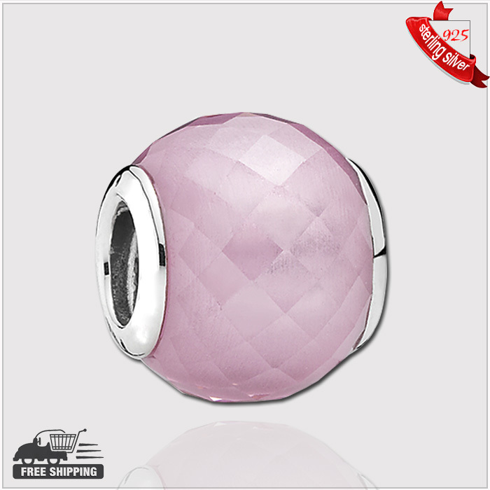 Authentic 925 Sterling Silver Murano Glass Beads abstract faceted silver charm with pink cubic zirconia Charms<br><br>Aliexpress