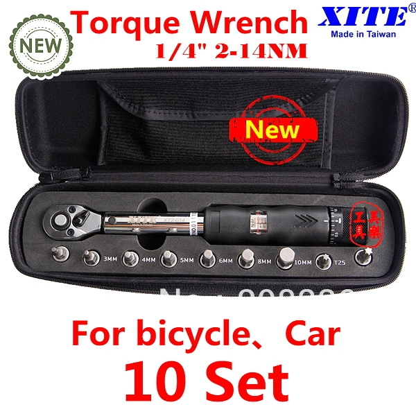 """Free Shipping TOP Quality XITE 1/4"""" Drive 10 sets torque wrench 2-14Nm bicycle bike tool kit set bicycle repair tool"""