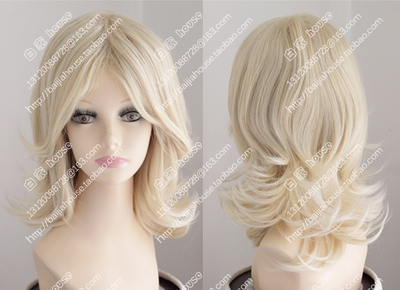 Free shipping Fashion girl wig 14 inches Pale golden long hair style(China (Mainland))