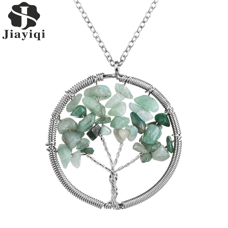 Special Design For Women Girl Nice Gift Fashion Women Tree of Life Necklace Elegant Natural Stone Round Green Wedding Jewelry(China (Mainland))