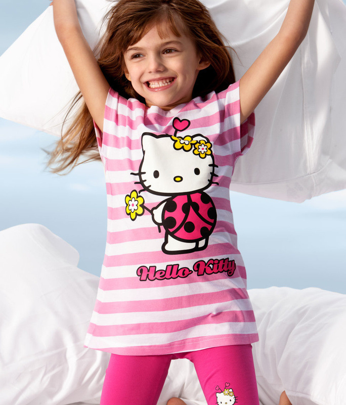 New Girls Clothing Set Summer Cartoon Hello Kitty Suits For Girls Children's Shorts 2Pcs Tshirts+Pants(China (Mainland))