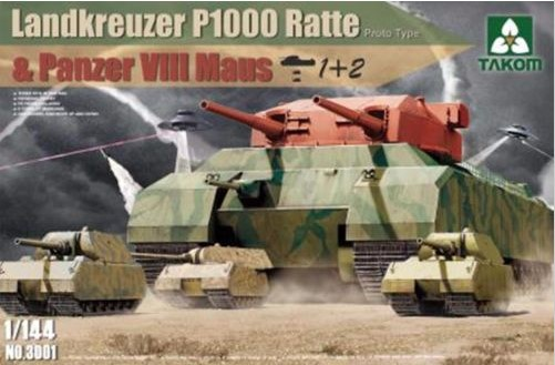 Tank model NO3001 1/144 Landkreuzer P1000 Ratte and Panzer VIII Maus(China (Mainland))