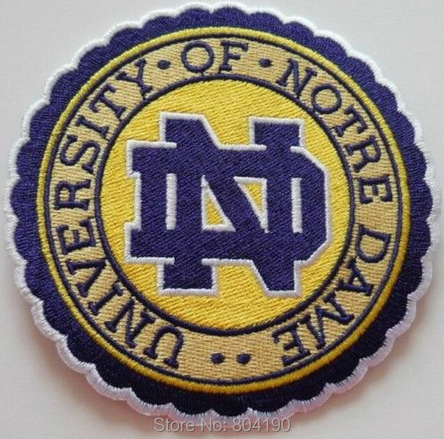 NOTRE DAME FIGHTING IRISH NCAA COLLEGE FOOTBALL SPORTS APPLIQUE IRON ON PATCH Logo Wholesale Free Shipping gift favor(China (Mainland))