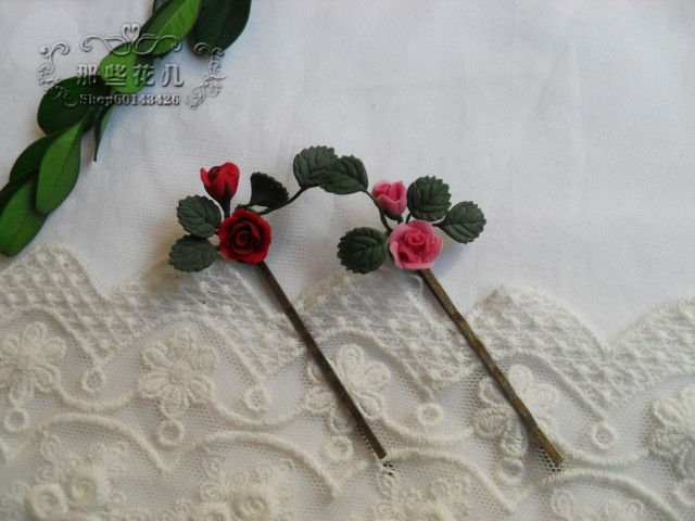 Handmade Cute Things Berry rose small side-knotted clip bangs clip(China (Mainland))