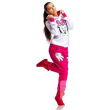 2016 Spring Autumn Minnie Mouse Printed Sport Suit Tracksuits Women Cartoon Sweatshirt Set Girls Hoodies And Pants Dropship S-XL