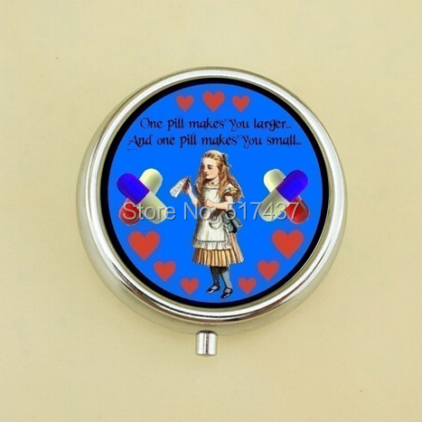 Free Shipping Alice In Wonderland Glass Quote Round Pill Box One Pill Makes Your Larger Mini Pill Box Case(China (Mainland))