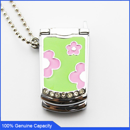 100% Genuine USB Flash Drive crystal necklace telephone shaped memory stick pen drive 4GB 8GB 16GB 32GB pendrive Free shipping(China (Mainland))