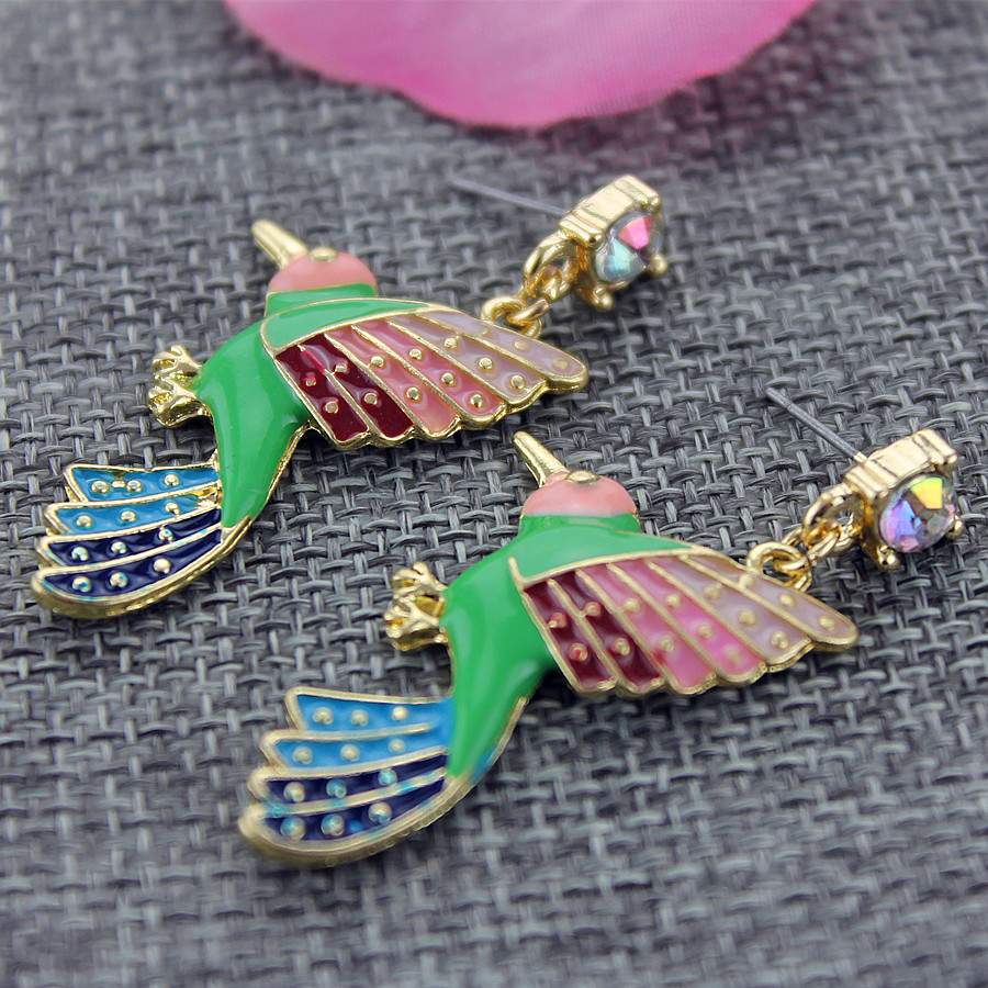 Fashion stud earrings 2014 New fashion and pure and fresh quietly elegant contracted color bird pendant earrings, 327(China (Mainland))