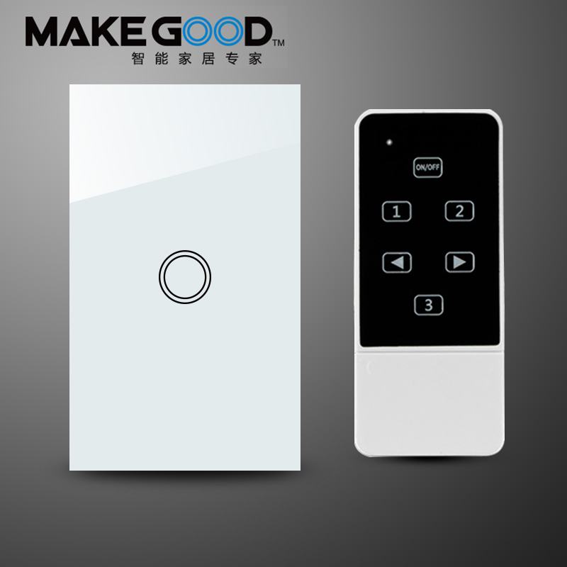 MakeGood US Standard New Design Remote Control Switch Touch Glass Screen Panel Light Switch 1 Gang 1way AC110-240V Wall switch(China (Mainland))