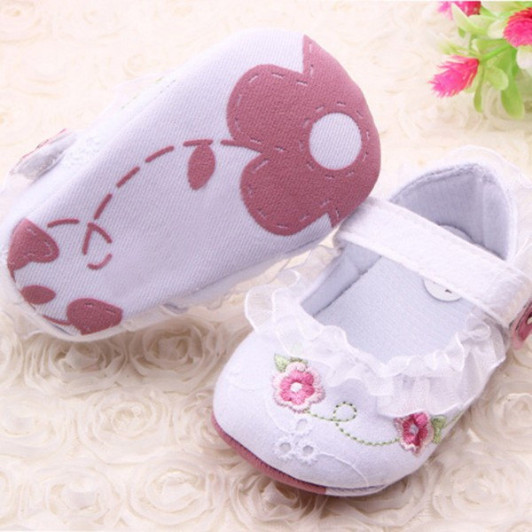 Infant Toddler Baby Girl First Walkers Floral Lace Prewalker Shoes Soft Sole Crib Shoes For Free