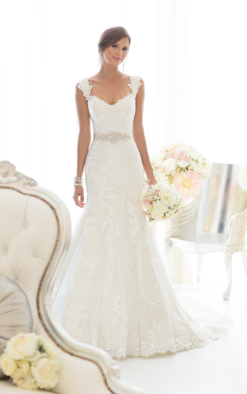 Vestido de noiva 2015 lace wedding dress with sashes for Wedding dresses with sashes