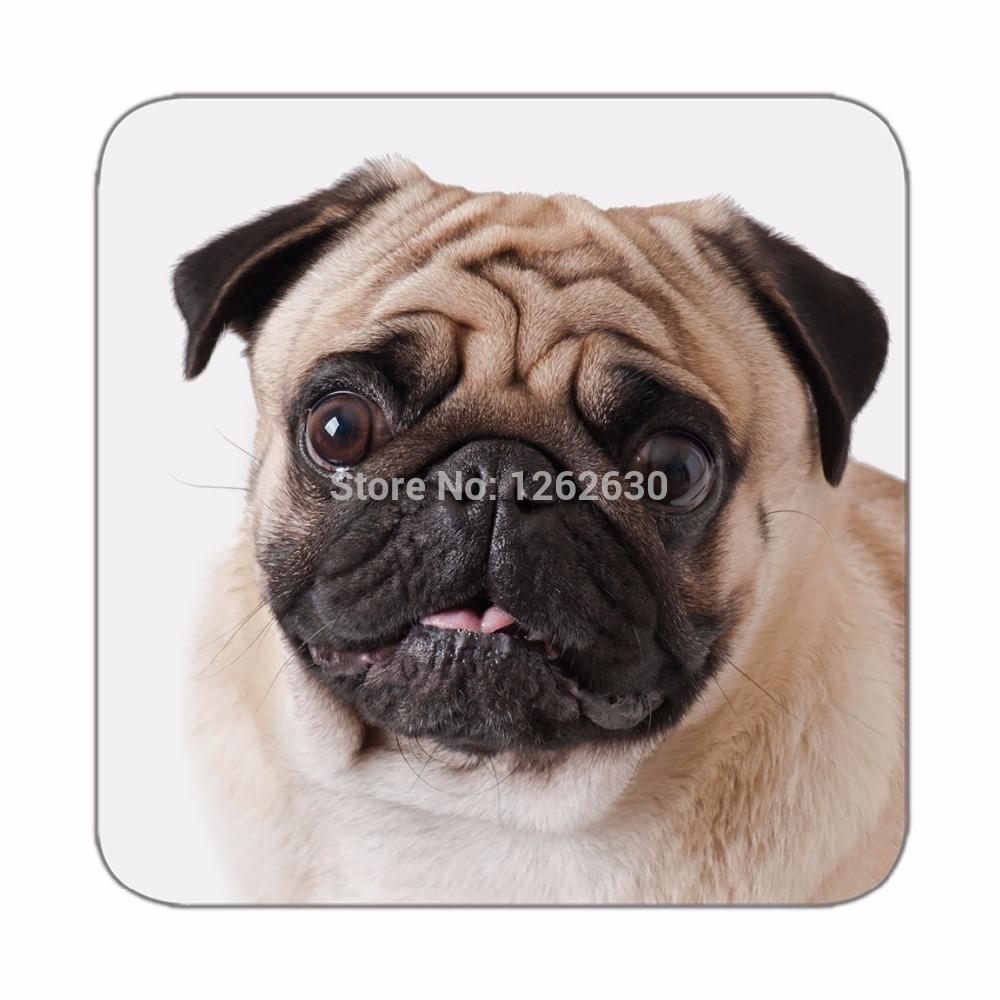 Cute Pug Dog Big Face Pattern Mat Drink Tea Cup Cork Coasters Pack of 4(China (Mainland))