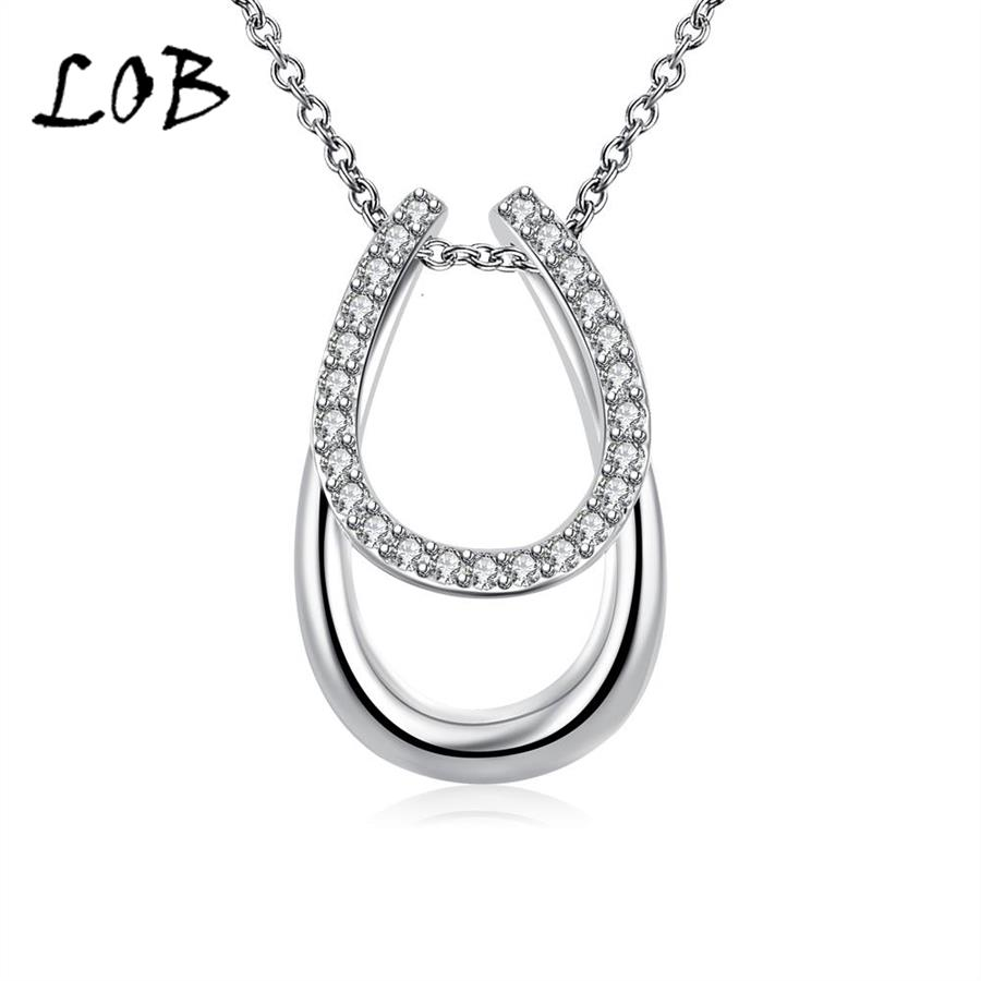 Classic Zircon Silver Plated Necklaces & Pendants For Lady Silver Chain Necklace Women Party Accessories 2016 N712(China (Mainland))