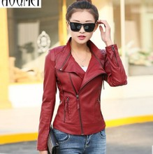 Leather jacket women 2016 new stand collar leather coat women short design Motorcycle leather clothing female outerwear red(China (Mainland))