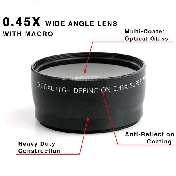 58MM 0.45x Wide Angle Lens + Macro Lens Canon EOS 350D/ 400D/ 450D/ 500D/ 1000D/ 550D/ 600D/ 1100D Nikon Free