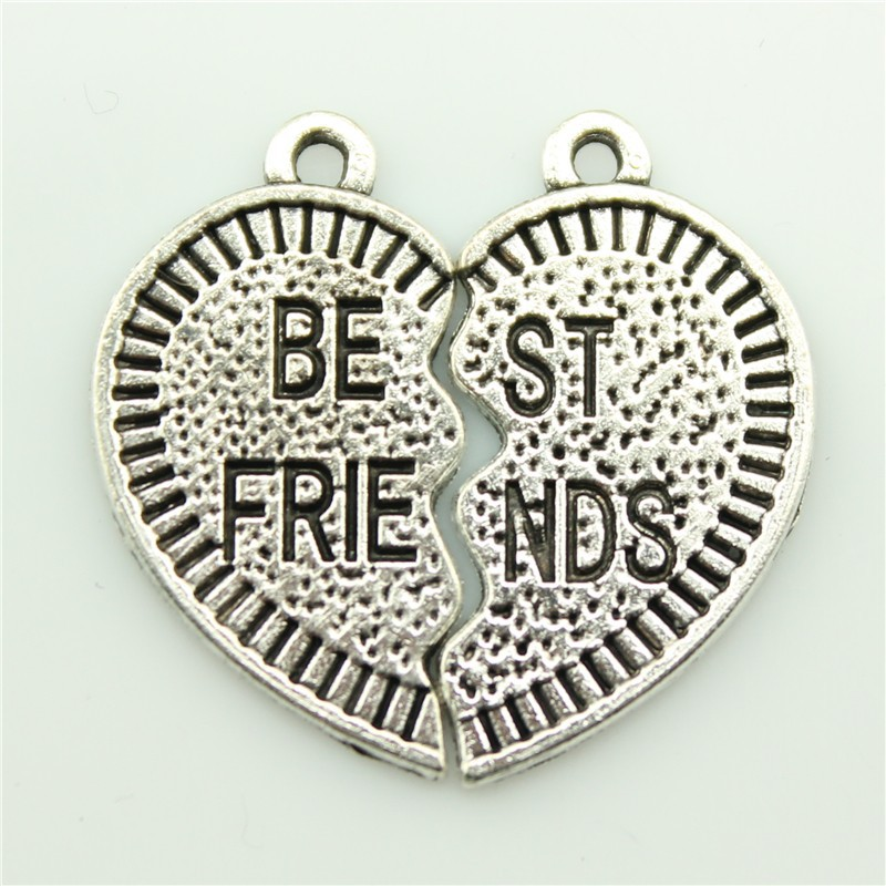 2014 New Fashion Hot Sale 10sets best friends puzzle pieces charms antique silver tone pendant B10293.jpg(China (Mainland))
