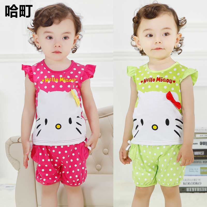 Toddler Girls Clothes, New Born Baby Girls Clothing Sets, Girls Hello Kitty T Shirt+Shorts, Kids Fashion Cotton Clothing Set(China (Mainland))