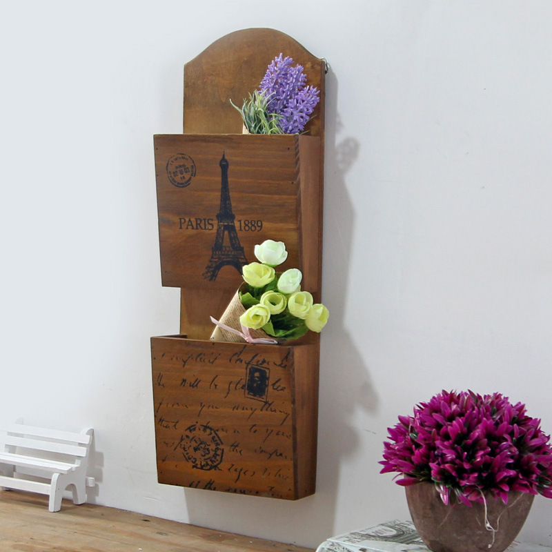 wooden wall decoration retro wood storage rack letter holder kitchen shelf factory direct mural.(China (Mainland))