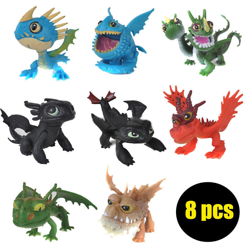 Гаджет  New 8 pcs /set full set Movie How to Train Your Dragon 2 PVC Action Figures, Night Fury toothless dragon toys for child gift None Игрушки и Хобби