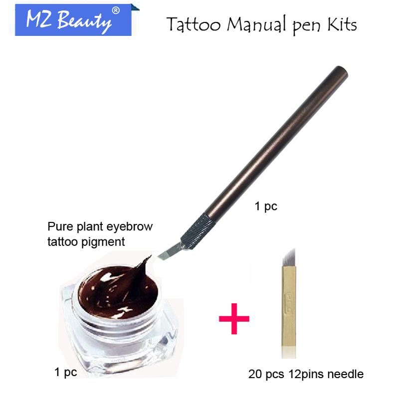 Eyebrow Permanent Makeup Kit 3D Eyebrow Manual Makeup Pen & 12 Pin Flade Needles Black Coffee Tattoo Paste(China (Mainland))