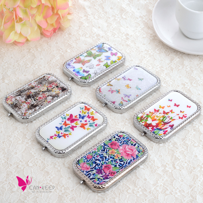 Branded Double Sided Folding Metal Pocket hand Mirror Makeup Notebook Portable Vanity Mirror Butterfly Craved Beauty Cosmetic(China (Mainland))