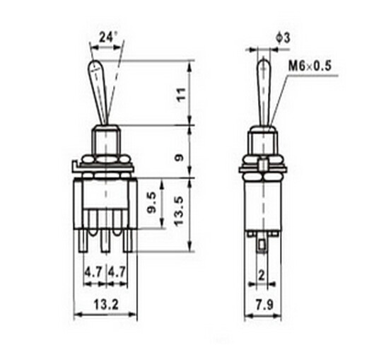 3pcs G106 Mini MTS-103 3-Pin ON-OFF-ON 6A 125V 3A 250VAC Toggle Switches High Quality Sell At A Loss Belarus Ukraine USA