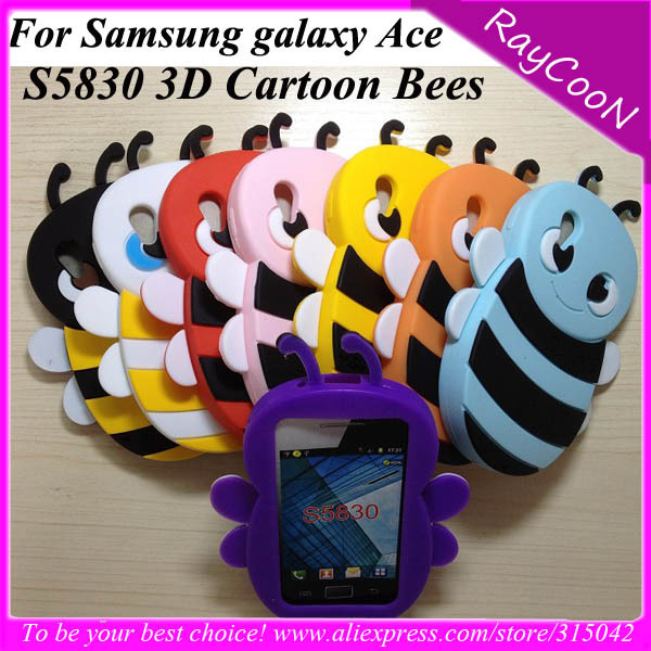 Wholesale 20pcs/lot 3D Cartoon Bees silicon soft  cover back case for samsung galaxy ace s5830,accept to mix color