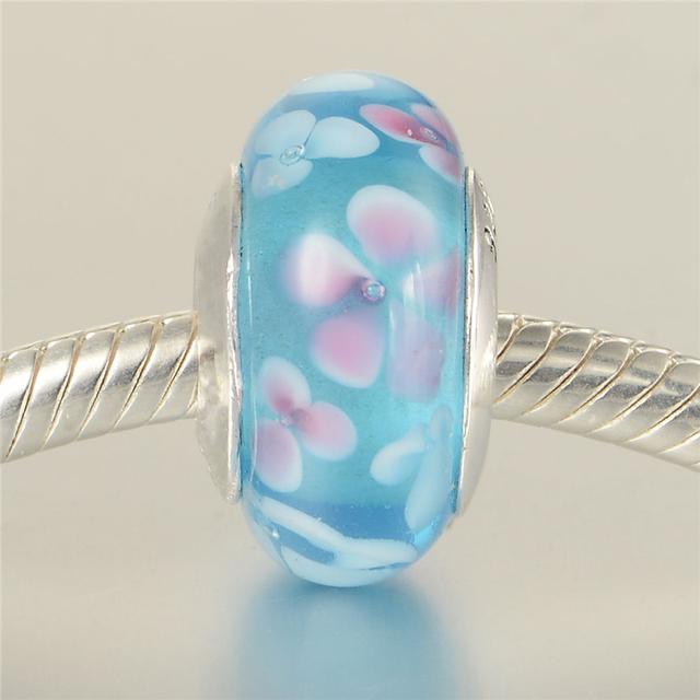 48074 розовые и голубые цветы муранского стекла бусины 925 серебряные ювелирные изделия Fit пандора оригинальный подвески браслеты DIY ювелирных украшений