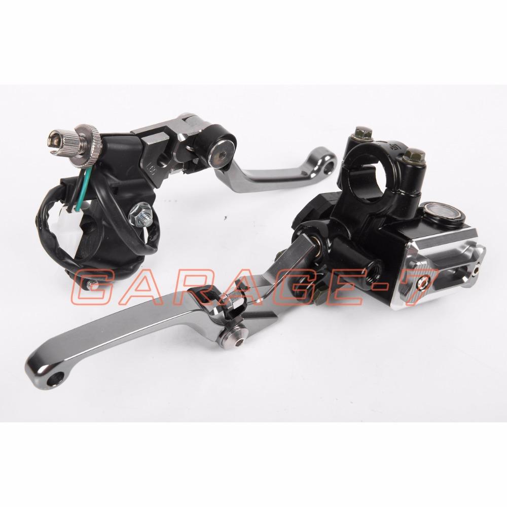 New CNC 7/8 Brake Master Cylinder Pressure Switch Reservoir Levers Dirt Pit Bike Set Titanium  For SUZUKI  RMZ250 2004 COOL<br><br>Aliexpress
