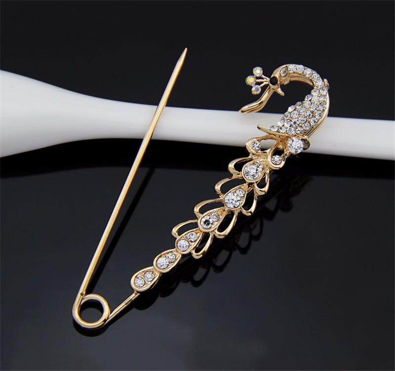 HOT SALE New Peacock Shape Korean style AB Rhinestone Crystal Pins Brooches For Women Free Shipping Danbihuabi Brand