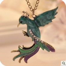 Buy Vintage Phoenix Gem Enamel Pendant Necklace Glazed Peacock Bird Long Necklace Women Crystal Jewelry Christmas Gifts for $1.08 in AliExpress store