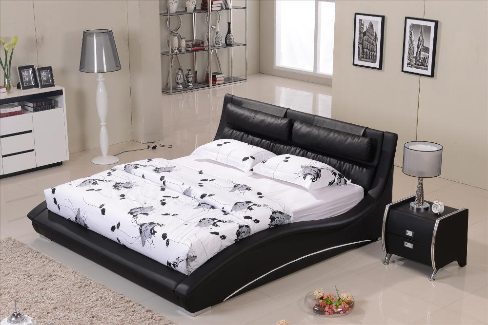 order 1 set furniture bedroom confortable black leather headrest bed solid wood frame curved shaped smart modern bed b07
