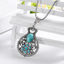 Min. order is $6 (mix order) Bohemian lucky bottle pendant rhinestone necklace chain sweater turquoise  (China (Mainland))