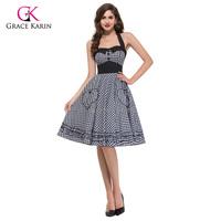 Grace Karin 2015 Summer Plus Size Retro 50s Swing Pin up Dress Rockabilly Plaid Vintage Dresses Short Women Gowns vestidos 6091