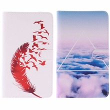 2015  Coloured Painting Case for Samsung GALAXY Tab 4 T230 PU Leather Stand Cases with card slot for Galaxy Tab 4 Nook 7.0″inch