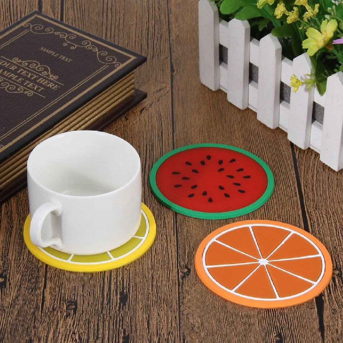 Colorful jelly color fruit shape coasters creative skid for Creative coasters