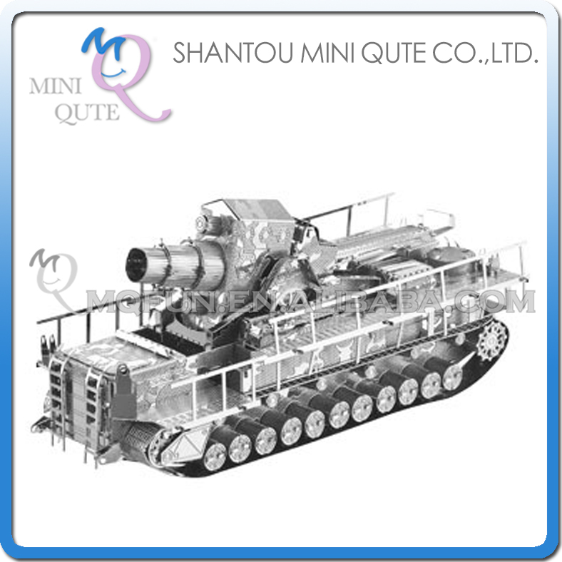 Mini Qute 3D Metal Puzzle Silver Railway Gun Tank warcraft military Adult kids model educational toys gift NO.I22213-2