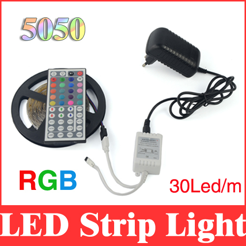 LED strip rgb 5050 light 5m 150Leds smd non-waterproof flexible strips + 44 key remote controller + dc 12v 2A power supply RS18(China (Mainland))