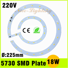 New Product AC 220V 18W Integrated IC Lamp Plate 5730 SMD Ceiling Light Panel Warm White Cold White Free Shipping(China (Mainland))