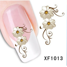 1 Sheet Fashion 3D Design Daisy Flower Watermark Nail Decals, DIY Water Transfer Nail Stickers Manicure Tools