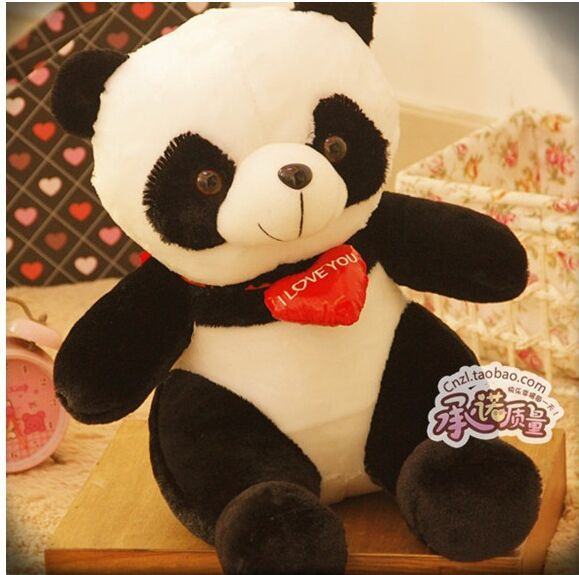 cute plush panda toy lovely sitting panda doll with red heart soft toy birthday gift about 38cm(China (Mainland))