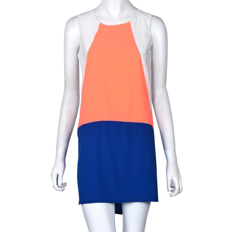 2016 Latest Women Summer Dress Vestidos Women Blue White Sleveless Auburn Color Block O-Neck Dress Office Dress FreeShipping(China (Mainland))