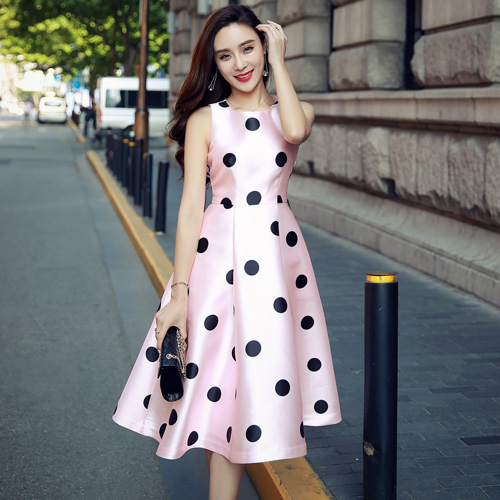 real photo 2016 new summer fashion party cute dotted satin drill sleeveless O-neck S M L pink woman's Casual a-line tank dress(China (Mainland))