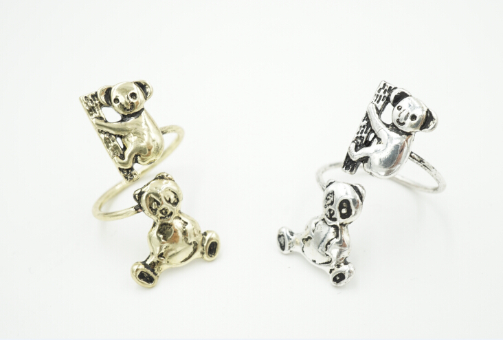 30pcs/lot 2015 New Fashion Koala Panda Animal rings for Women Adjustable Vintage Women Wrap Rings Wholesale R325(China (Mainland))