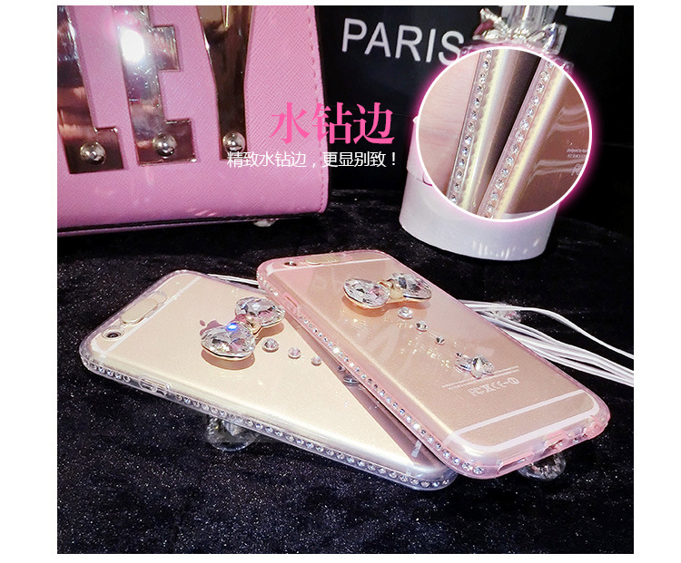 Fashion For Samsung Galaxy S6 Edge G925F G920F diamond Bow popular silicone light flash Case Skin Back Cover protector shell(China (Mainland))