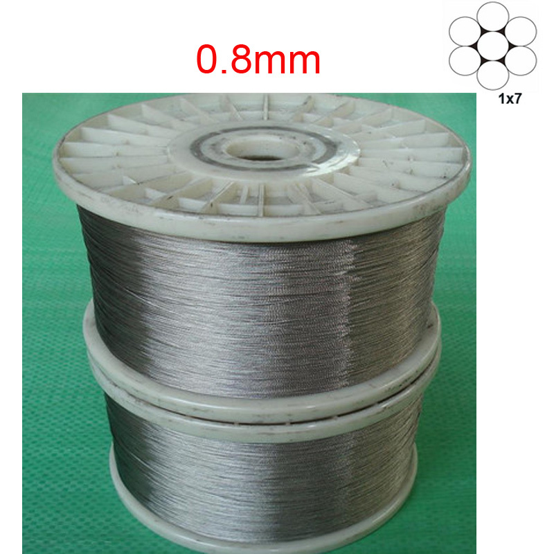 30M/Lot 0.8mm 1x7 304Stainless Steel Cable Wire Rope Free Shipping(China (Mainland))